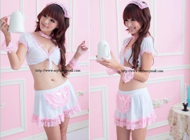 03658 Korea Japan Sexy Roll Play Maid Maidservant Set Lingerie