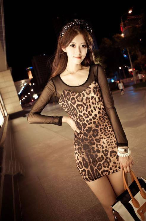 03851 Korean Slim thin sexy leopard dress
