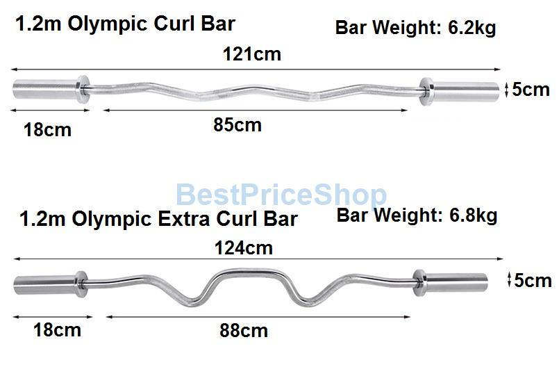 1.2m Olympic Barbell Extra Curl Gym Ez Curl Curve Bar Weightlifting