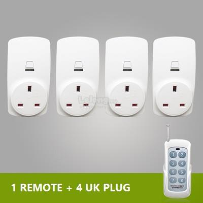 1+3 Set Digoo Smart Home RF Wireless 1 Remote Control 3 Socket UK Plug