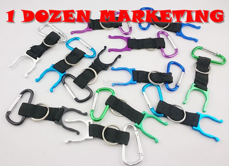 1 Dozen Aluminum Bottle Holder Carribean Hook Key Ring Chain