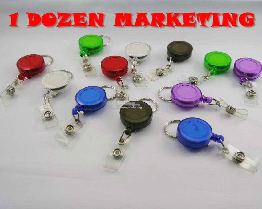 1 Dozen Retractable ID Card Badge Holder Key Ring Chain