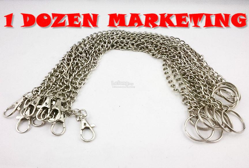 1 Dozen Small Steel Hook Clasp with Chain Key Ring