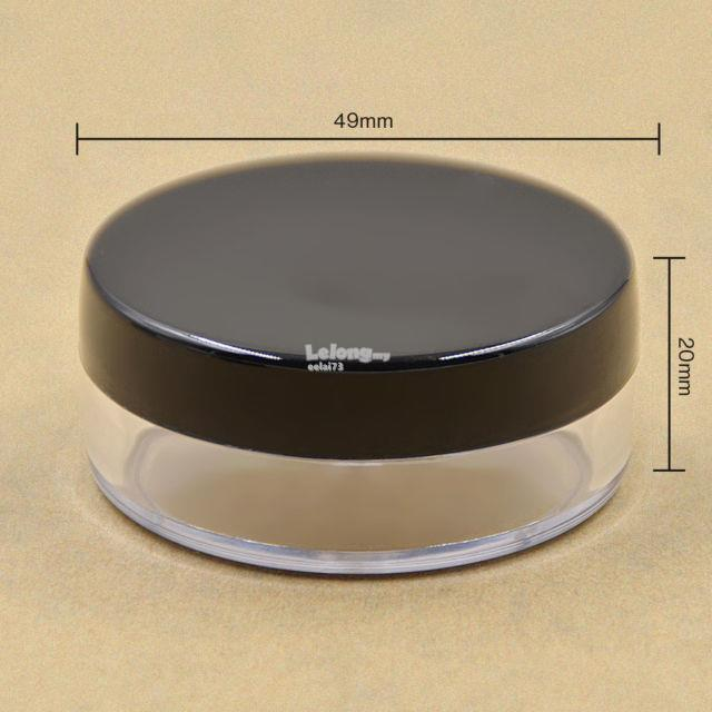 1 pc 20g Black Sifter Loose Powder Jar Container (with puff)