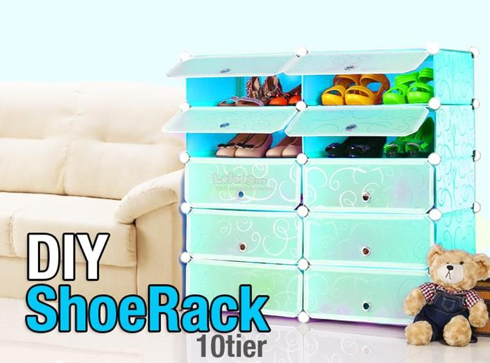 10 Cube DIY Shoe Rack Plain Blue / Red