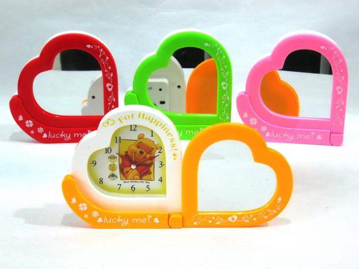 "10"" Heart Shape Alarm Clock + Mirror"
