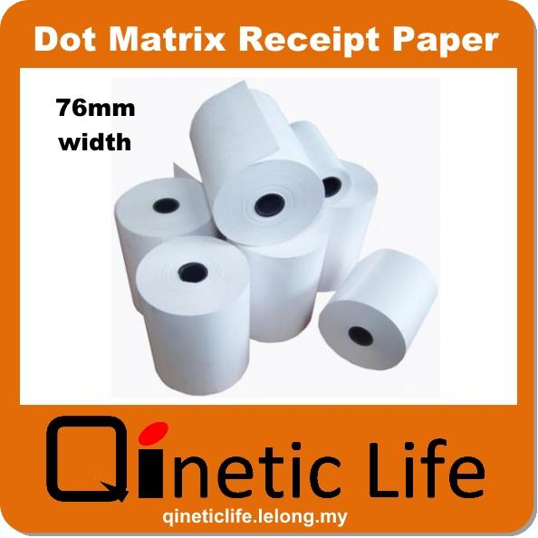 10 roll x 76mm/ 80mm width Dot Matrix Receipt Printer Paper