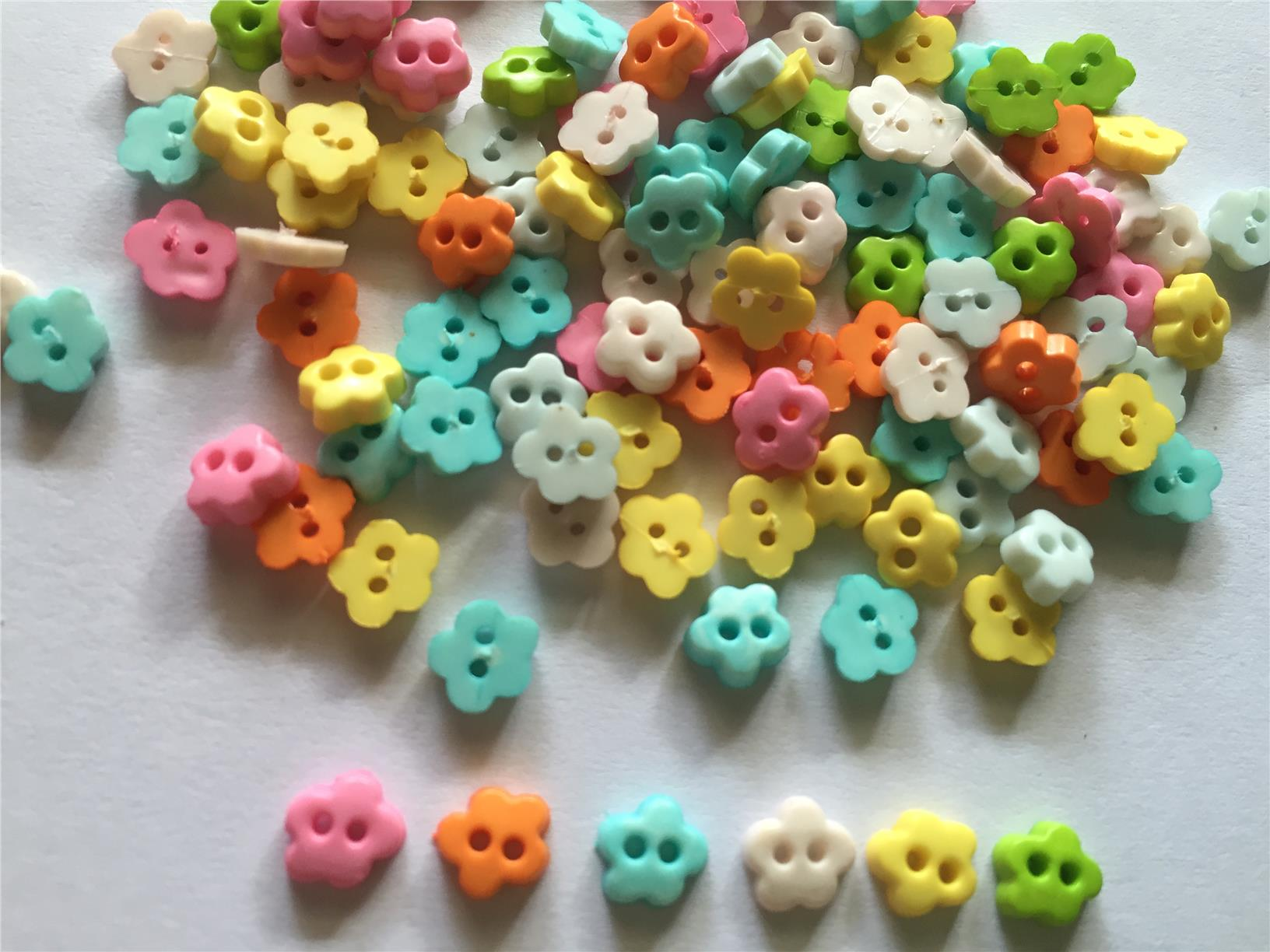 100 pcs cute tiny cherry blossom flower button size 7 mm mix pastel