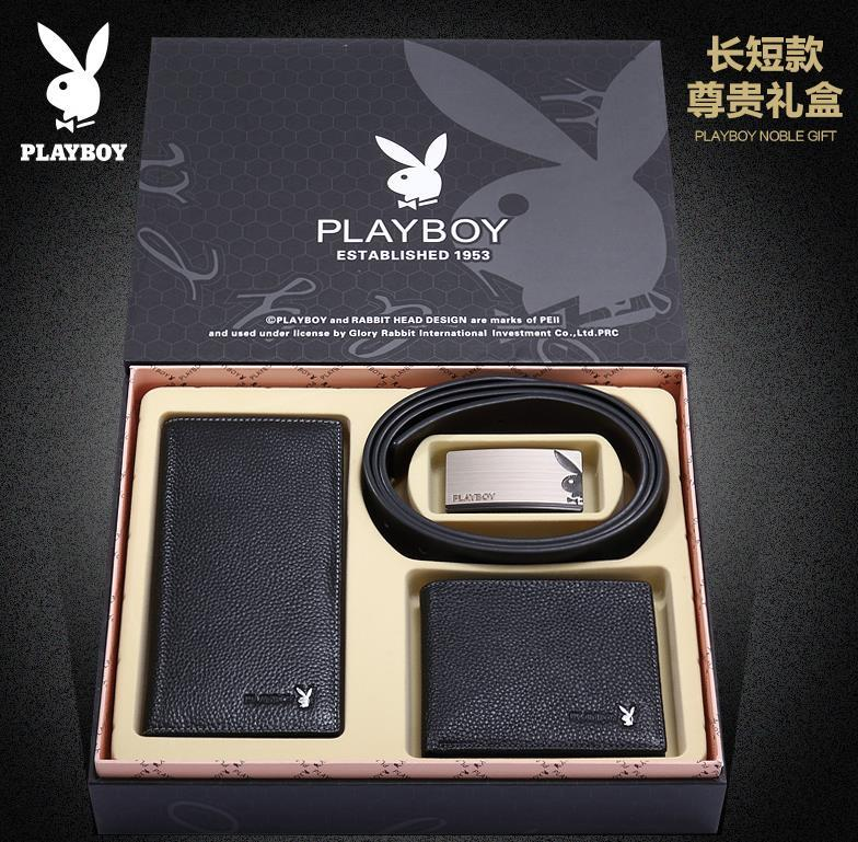 100% PlayBoy Cow Leather Man's Wallet Money Clips + Belt @Gift Pack