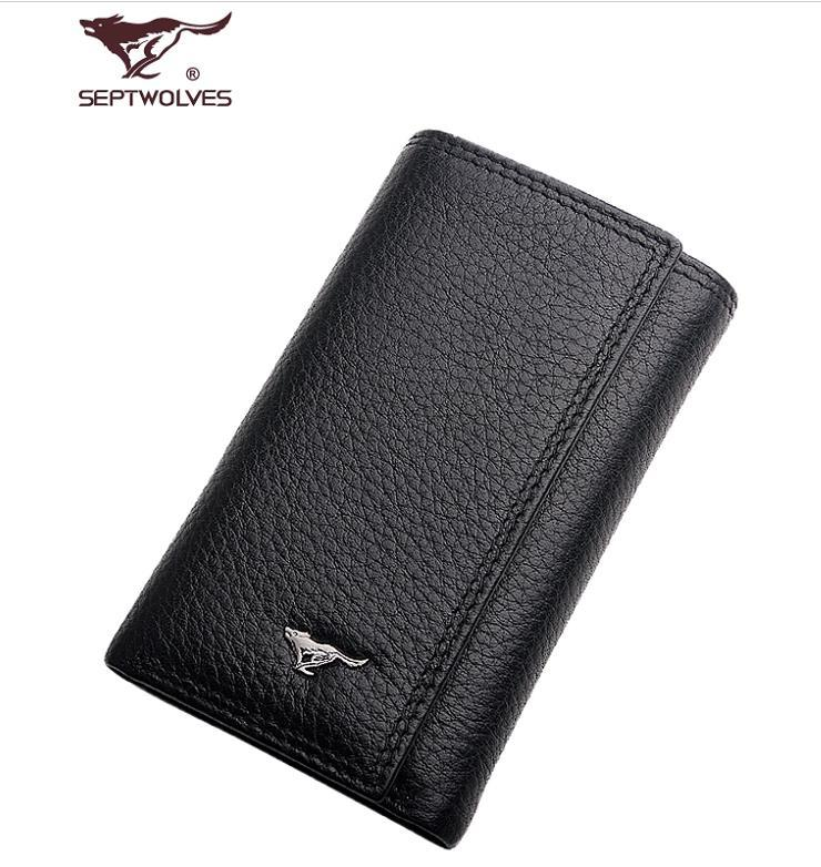 100% Septwolves Cow Leather Card Holder Key Wallet Case Bag