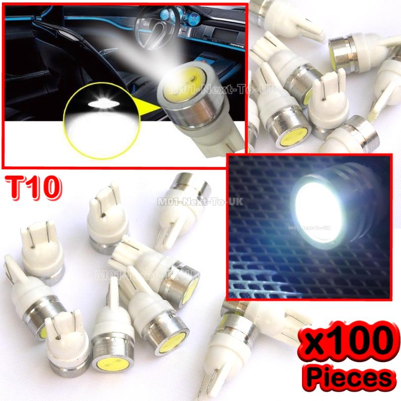 100x WHITE T10 SMD Light HID LED COB Bulb 501 W5W 1W Aluminum Shell Xe