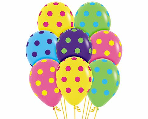 "10pcs Sempertex 12"" AO Colour Dots Printed Balloon"