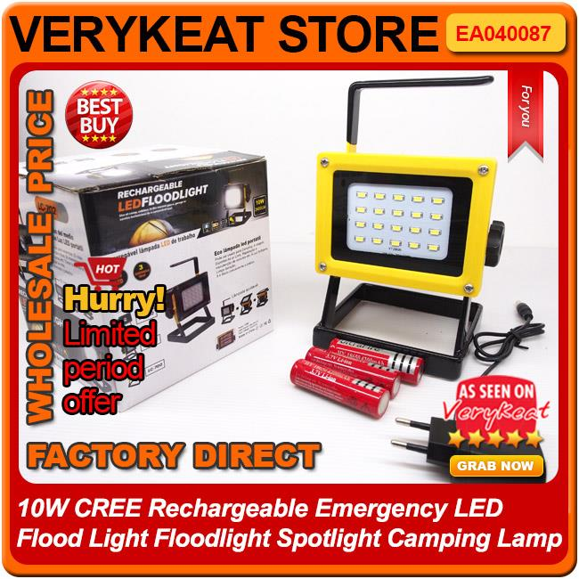 10W CREE Rechargeable Emergency LED Flood Light Spotlight Camping Lamp