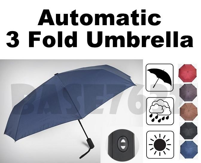 120cm Large One Click  Automatic Open/Closed 3 Fold Foldable Umbrella