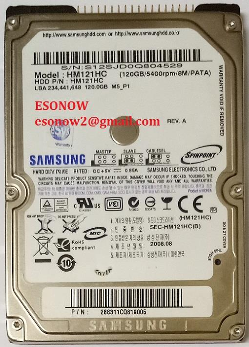 "120GB 2.5"" IDE PATA 5400RPM 8MB Samsung Notebook Hard Disk (Used)"