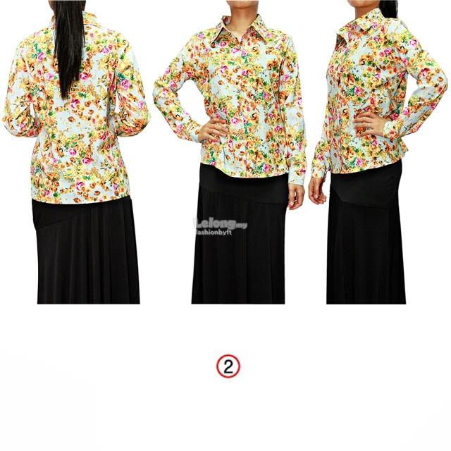 13347 Long Sleeve Shirt with Floral-Print