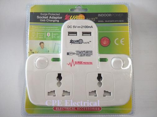 13A 2 Gang Surge Protected Socket Adaptor with 2 x USB port