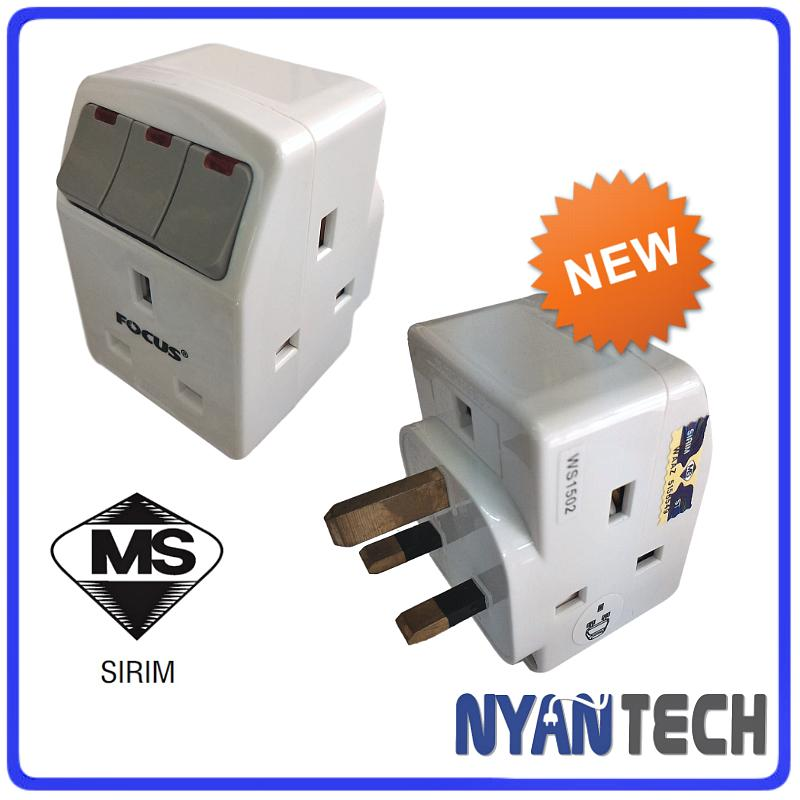 13A 3 Three Way Adaptor Adapter With Neon Switch (Sirim Approved)
