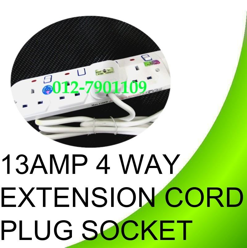 13Amp Extension Cord 4way 4.5m Trailing Socket Extension Plug Socket