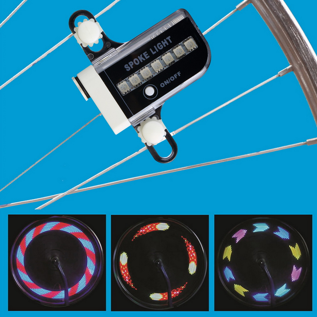 14 LED 30 Patterns RGB Bicycle Wheel Spoke Light Double Side Colorful ..