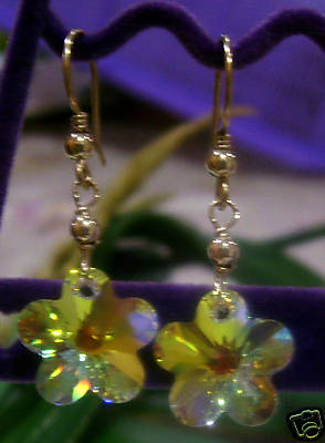 14K Gold Filled Swarovski Crystal AB Flower Earrings Choose Colours