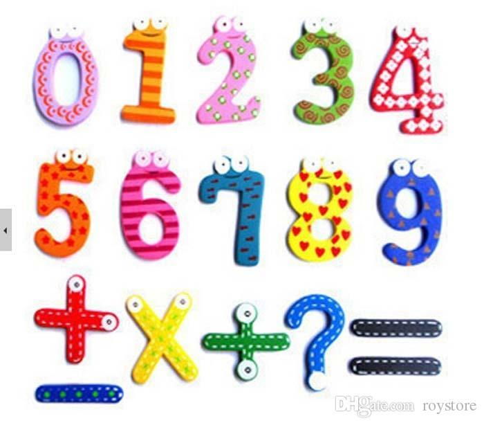15Pcs Wooden Numeric Fridge Magnets Kids Educational Toy