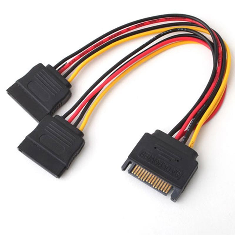 15pin Male to 2x 15pin Female SATA Power Cable Splitter, F2735