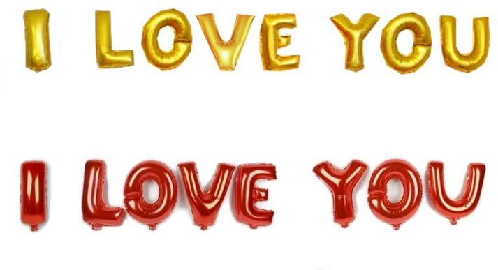 16 inch I LOVE YOU Alphabet Balloon Gold / Red Foil Balloons