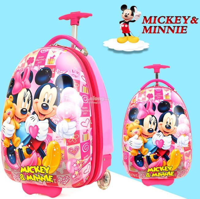 16 Inch Mickey Minnie Travel Luggage for Children ABS Rolling Bag