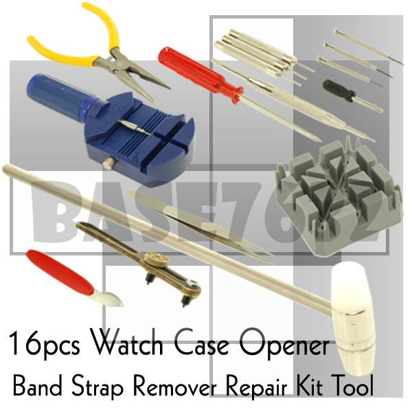 16 Pieces Watch Repair Tool Kit Band Open Back Case Link Remover