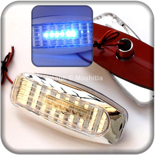 [1837] BLUE 6 LED Crystal Clear Side Signal Turn Corner Light Lamp