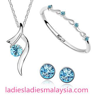 18K White Gold Plated Starshine Austrian Crystal Jewellery Sets