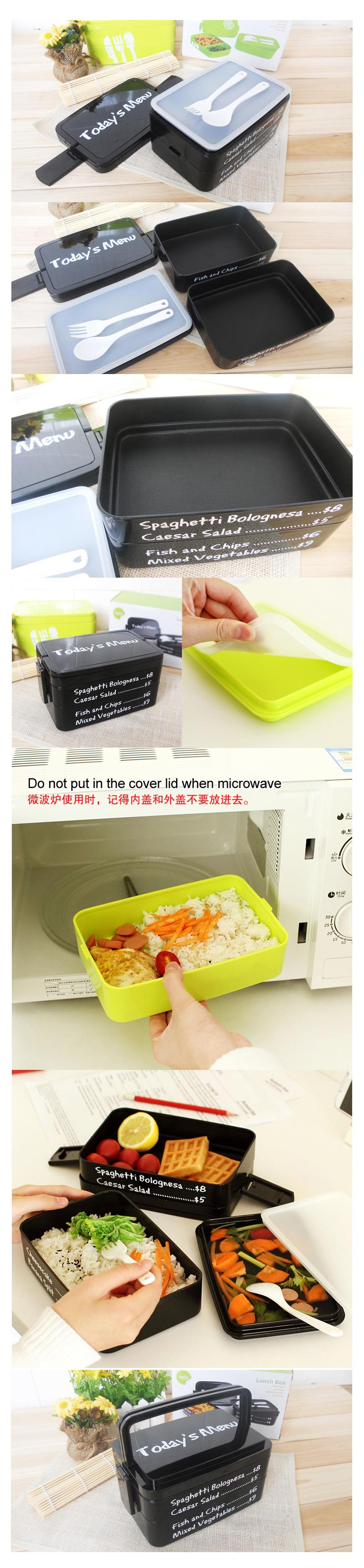 1915ml Microwave-Safe Double Layer Lunch Box / Bento Food Container
