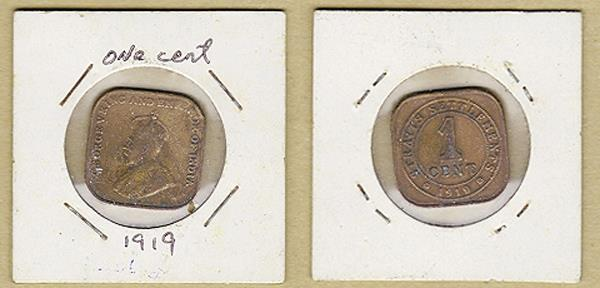 1919 Malaya Straits Settlements 'King George V' one cent Bronze coin