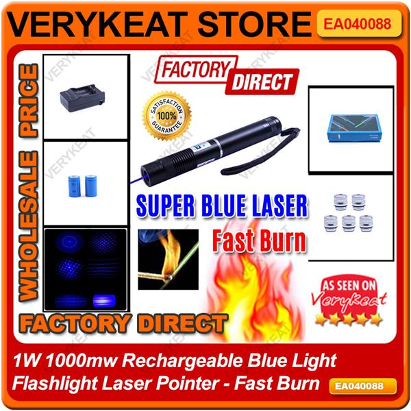 1W 1000mw Rechargeable Blue Light Flashlight Laser Pointer - Fast Burn