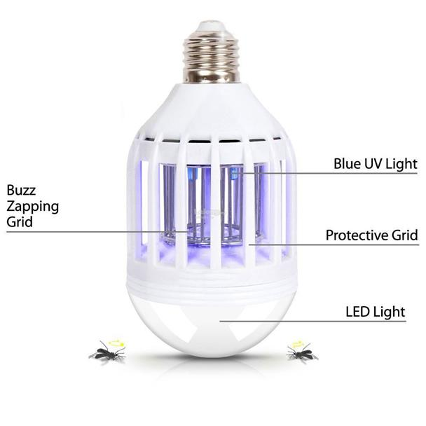 2-IN-1 Indoor Outdoor 10W LED Light & UV Mosquito Zapper Bug Bulb