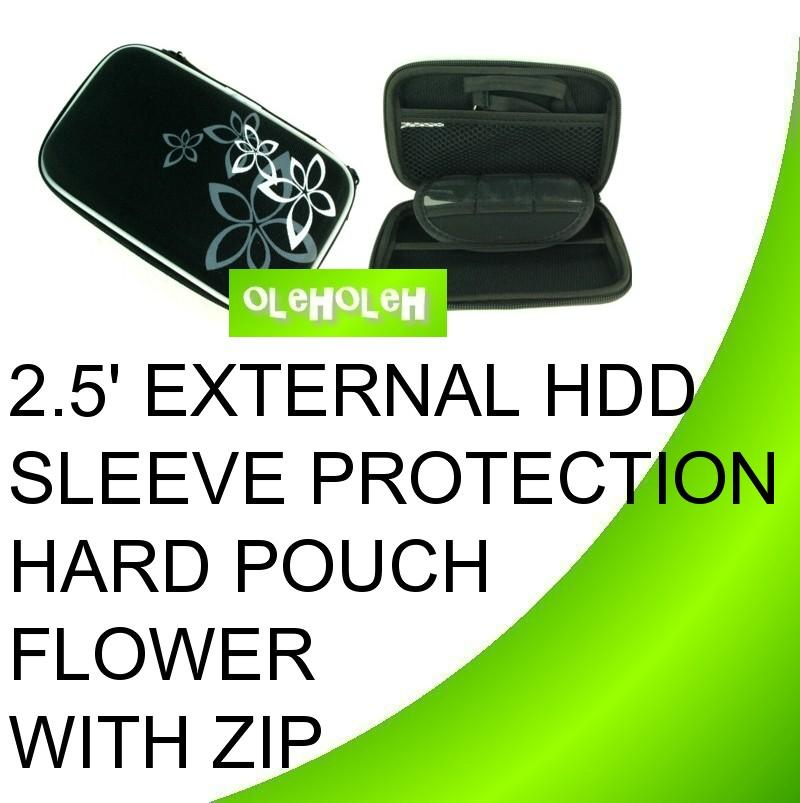 2.5' External Hard Disk Sleeve Protection Bag Hard Pouch Flower