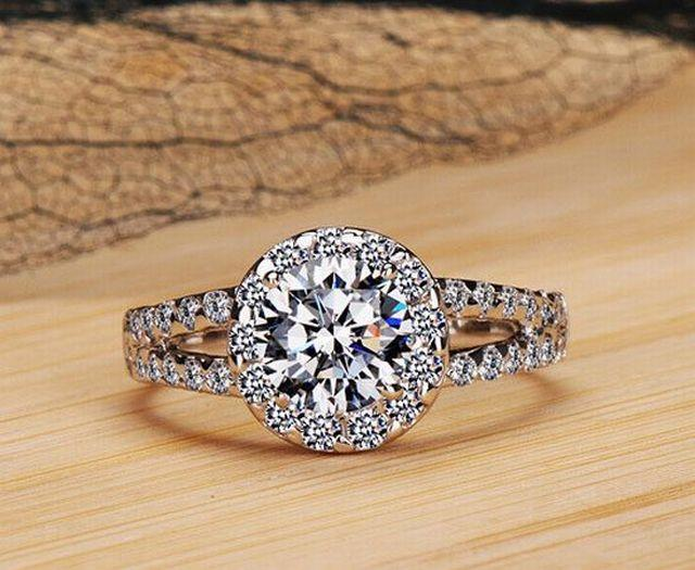 2 Carat 8mm Sona Simulated Diamond Engagement Rings For Women Sterling
