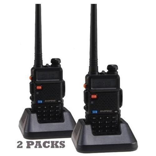 2 pcs 1 set Baofeng UV-5R walkie talkie handheld uhf vhf radio station
