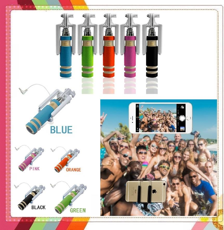 2 @ Rm 6.50 Mini Wired Selfie Stick Monopod Foldable Colorful Samsung