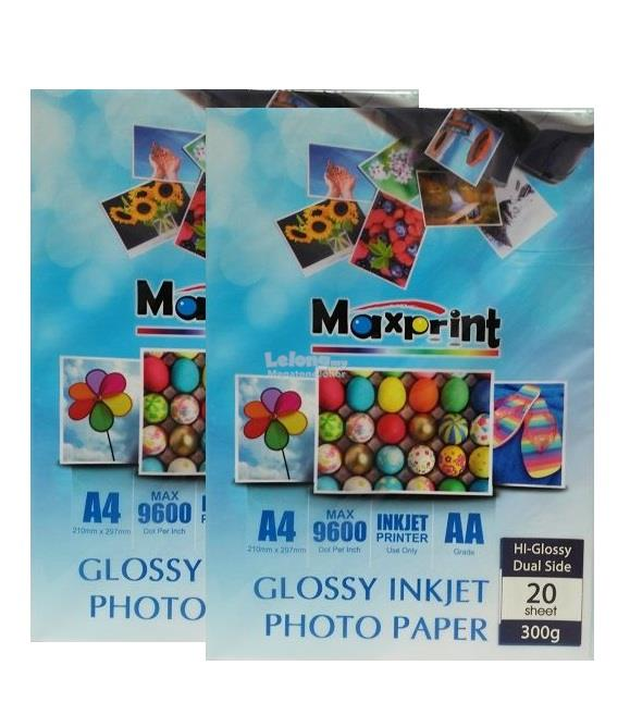 2 x MAXPRINT DUAL SIDE HI-GLOSSY INKJET PHOTO PAPER - A4/300g/20pcs