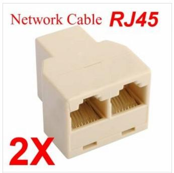 2 X New RJ45 CAT 5 6 LAN Ethernet Splitter Connector Adapter PC