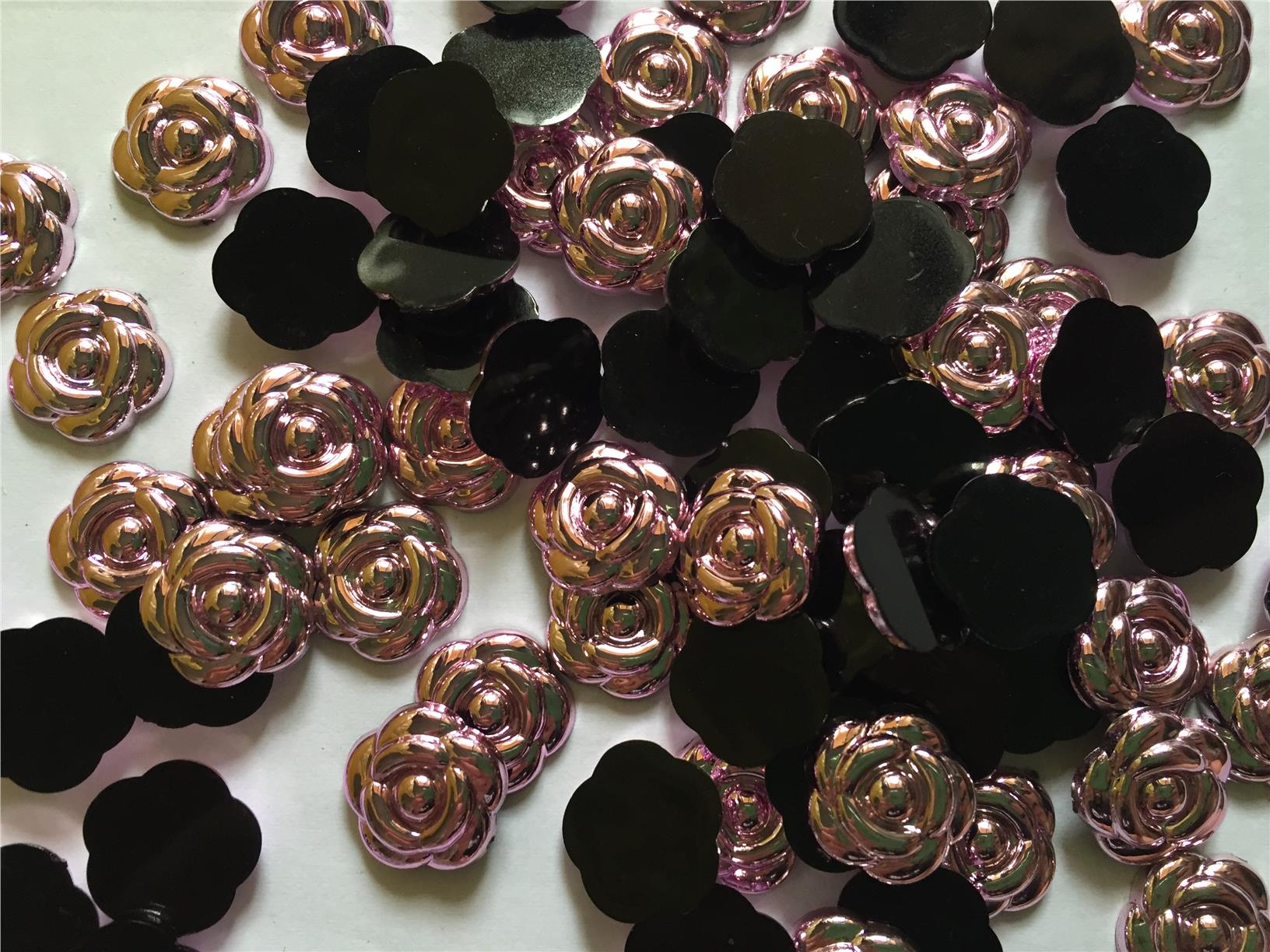 20 pcs metallic pink rose flatback size 14 mm