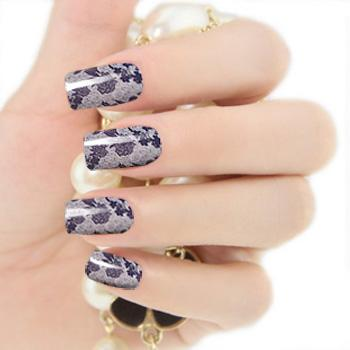 2012 New Design Fashionable Nail Patch Sticker-Black with Floral