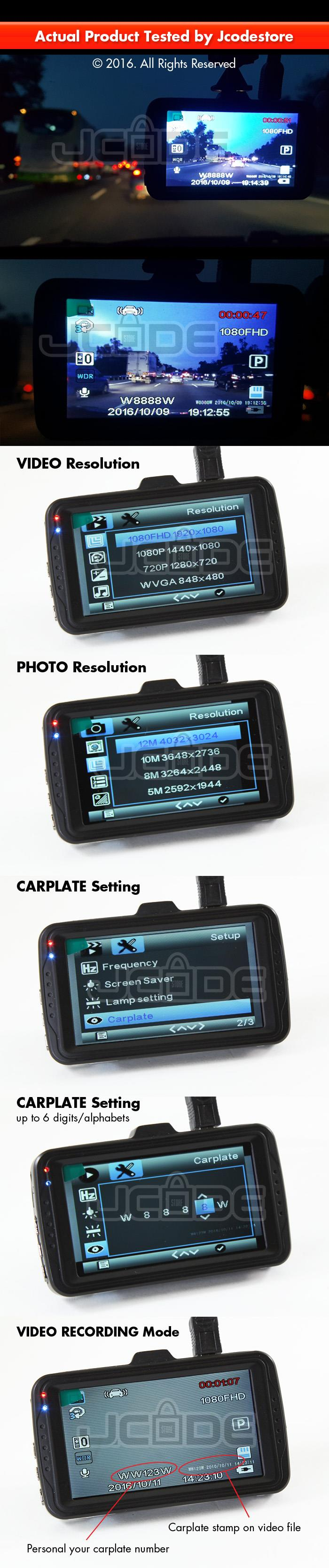 2016 Car DVR Cam WDR 1080P Full HD 3.0 Inch F2 Carplate Display
