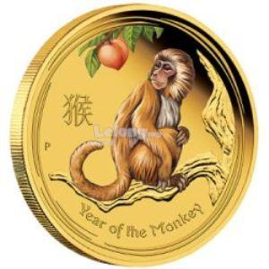 2016 YEAR OF THE MONKEY 1/4 OZ GOLD PROOF COLOURED EDITIONS