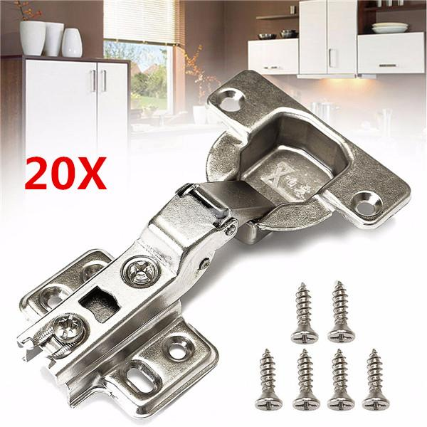 20Pcs 40mm Soft Close Kitchen Cabinet Door Hinge Slow Shut Plate & Scr