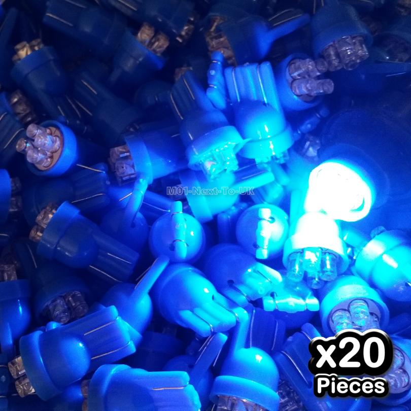 20x BLUE T10 4 LED Bulb Wedge Lamp Light Flat Head W5W 501 158 168 194