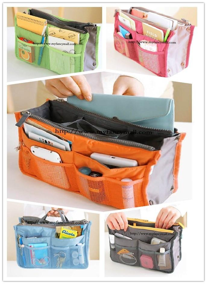 2826 Korean advanced double zipper nylon multifunctional finishing bag