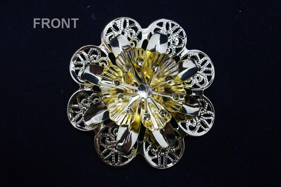 2D Gold Flower Brooch
